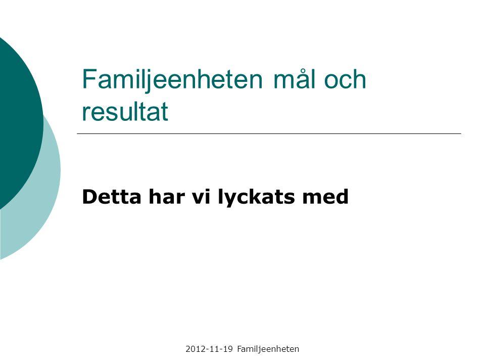 2012-11-19 Familjeenheten Familjeenheten mål och resultat Detta har vi lyckats med