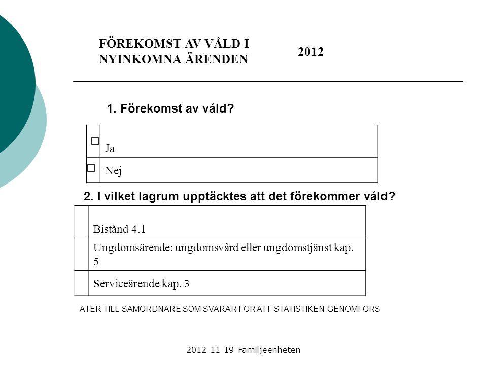 2012-11-19 Familjeenheten FÖREKOMST AV VÅLD I NYINKOMNA ÄRENDEN 2012 1. Förekomst av våld? Ja Nej 2. I vilket lagrum upptäcktes att det förekommer vål