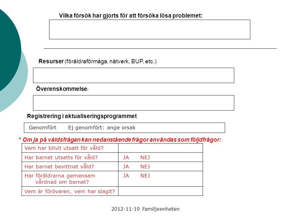 2012-11-19 Familjeenheten Vilka försök har gjorts för att försöka lösa problemet: Resurser (föräldraförmåga, nätverk, BUP, etc.) Överenskommelse : Reg