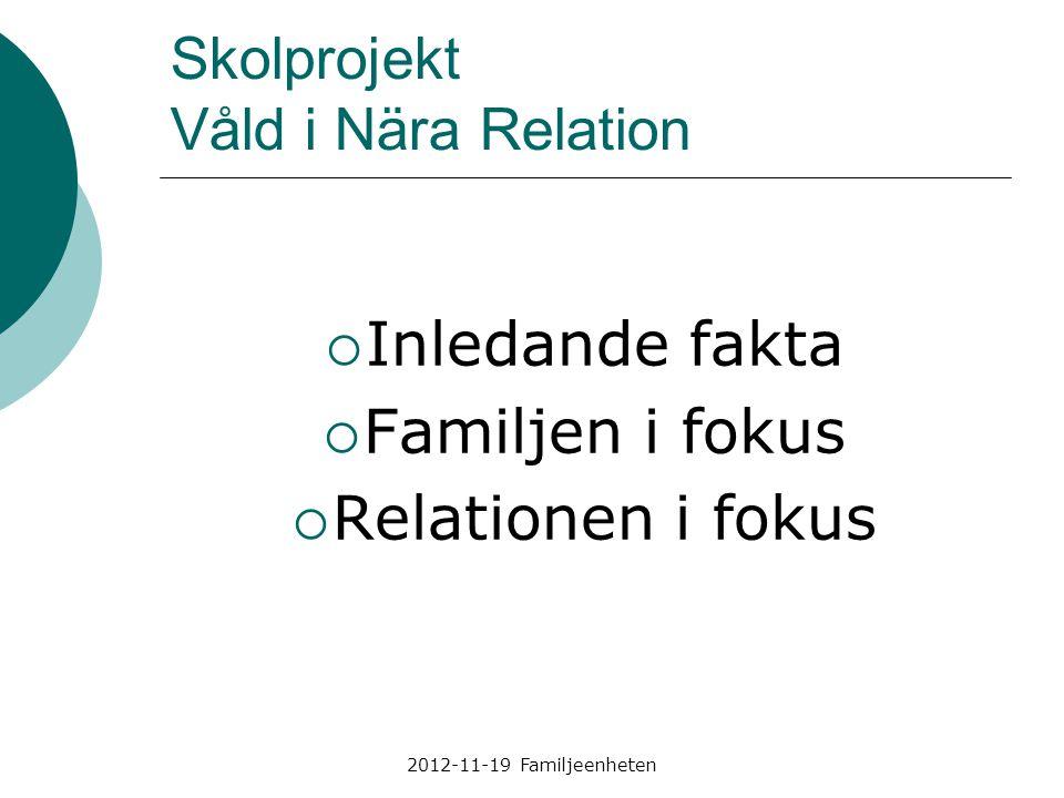 2012-11-19 Familjeenheten Skolprojekt Våld i Nära Relation  Inledande fakta  Familjen i fokus  Relationen i fokus