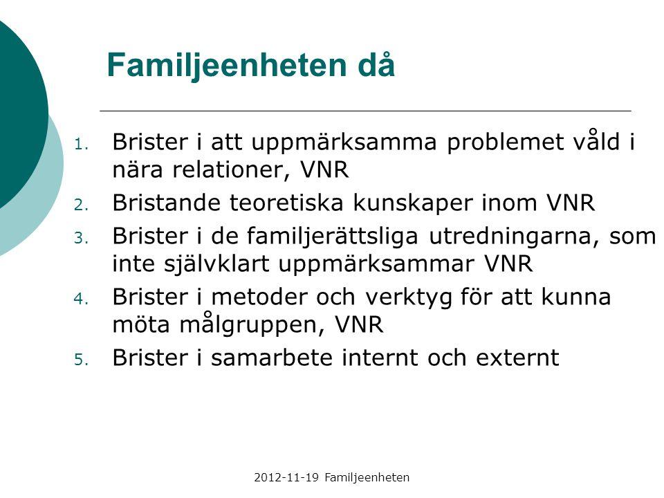 2012-11-19 Familjeenheten 1. Brister i att uppmärksamma problemet våld i nära relationer, VNR 2. Bristande teoretiska kunskaper inom VNR 3. Brister i