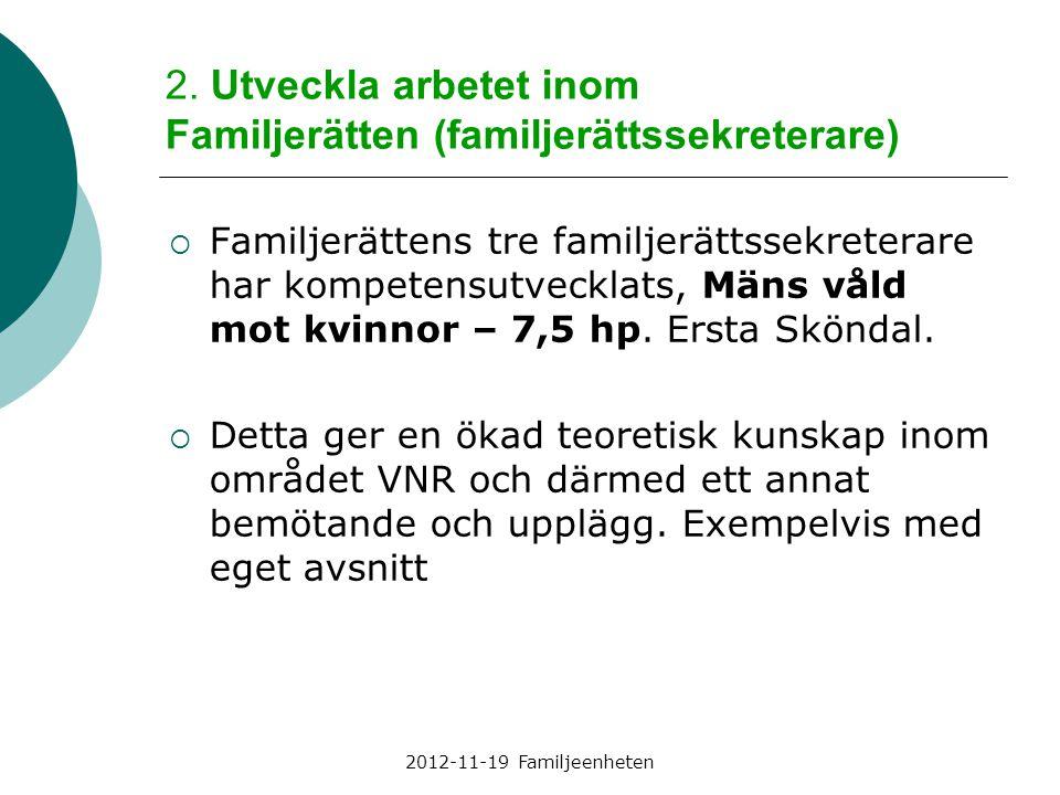 2012-11-19 Familjeenheten 2. Utveckla arbetet inom Familjerätten (familjerättssekreterare)  Familjerättens tre familjerättssekreterare har kompetensu