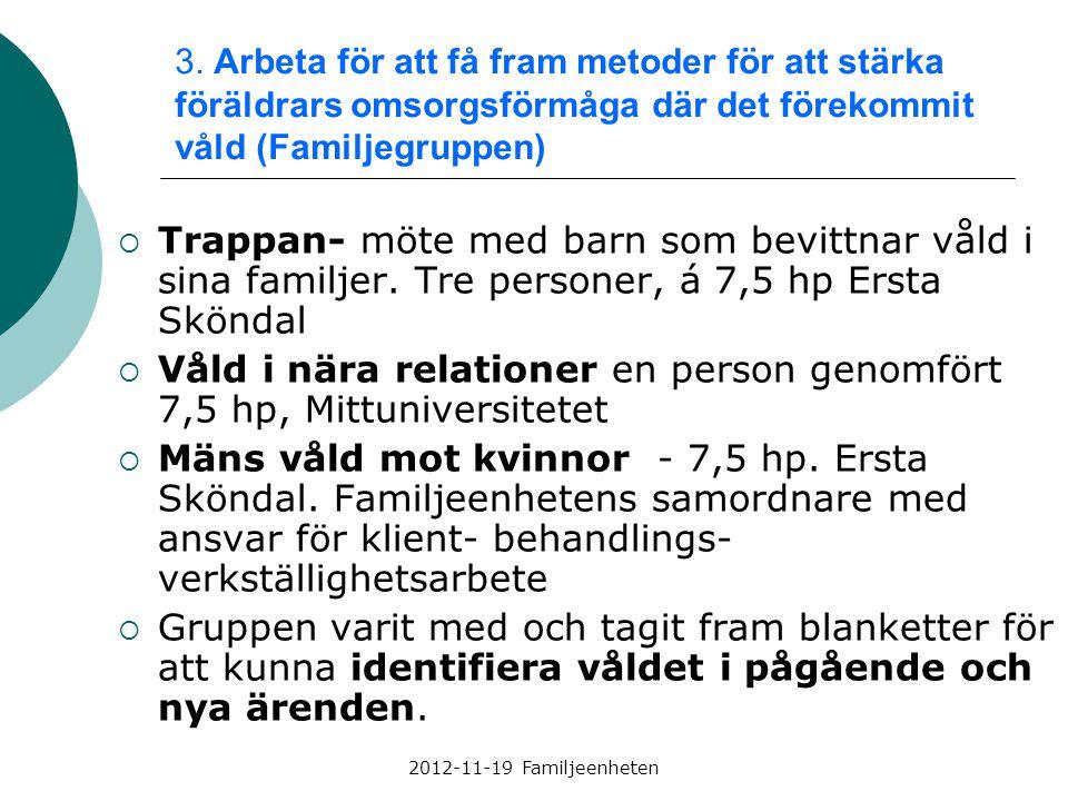 2012-11-19 Familjeenheten 3. Arbeta för att få fram metoder för att stärka föräldrars omsorgsförmåga där det förekommit våld (Familjegruppen)  Trappa