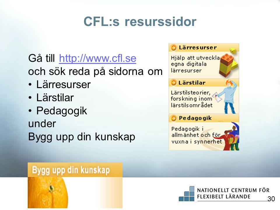 CFL:s resurssidor Gå till http://www.cfl.sehttp://www.cfl.se och sök reda på sidorna om •Lärresurser •Lärstilar •Pedagogik under Bygg upp din kunskap
