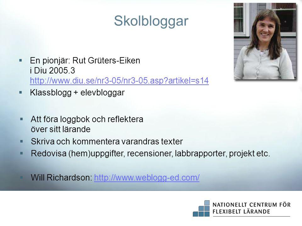 Skolbloggar  En pionjär: Rut Grüters-Eiken i Diu 2005.3 http://www.diu.se/nr3-05/nr3-05.asp?artikel=s14 http://www.diu.se/nr3-05/nr3-05.asp?artikel=s