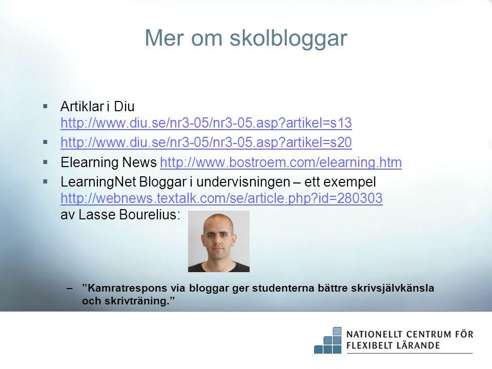 Mer om skolbloggar  Artiklar i Diu http://www.diu.se/nr3-05/nr3-05.asp?artikel=s13 http://www.diu.se/nr3-05/nr3-05.asp?artikel=s13  http://www.diu.s