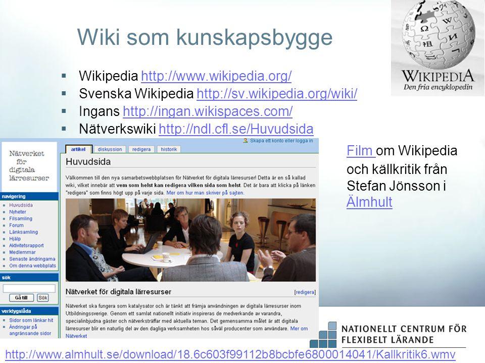 Wiki som kunskapsbygge  Wikipedia http://www.wikipedia.org/http://www.wikipedia.org/  Svenska Wikipedia http://sv.wikipedia.org/wiki/http://sv.wikip