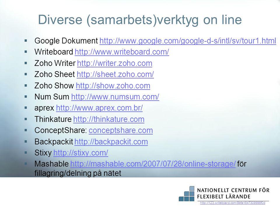 Diverse (samarbets)verktyg on line  Google Dokument http://www.google.com/google-d-s/intl/sv/tour1.htmlhttp://www.google.com/google-d-s/intl/sv/tour1