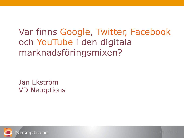 Var finns Google, Twitter, Facebook och YouTube i den digitala marknadsföringsmixen.