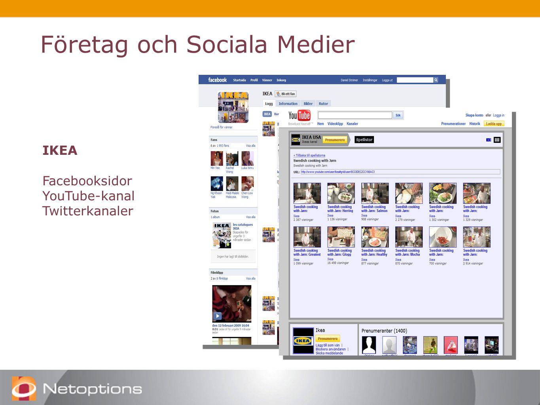 Företag och Sociala Medier IKEA Facebooksidor YouTube-kanal Twitterkanaler