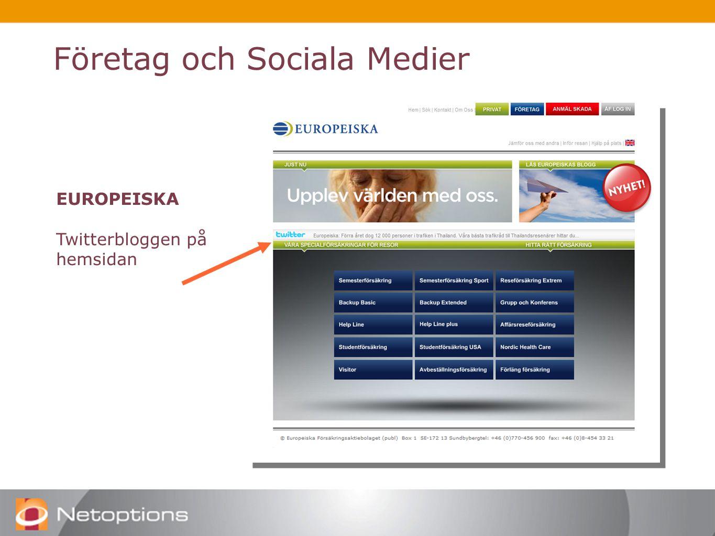 Företag och Sociala Medier EUROPEISKA Twitterbloggen på hemsidan