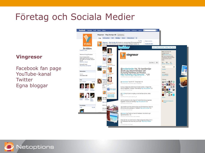 Företag och Sociala Medier Vingresor Facebook fan page YouTube-kanal Twitter Egna bloggar