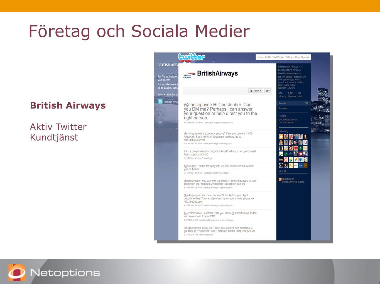 Företag och Sociala Medier British Airways Aktiv Twitter Kundtjänst