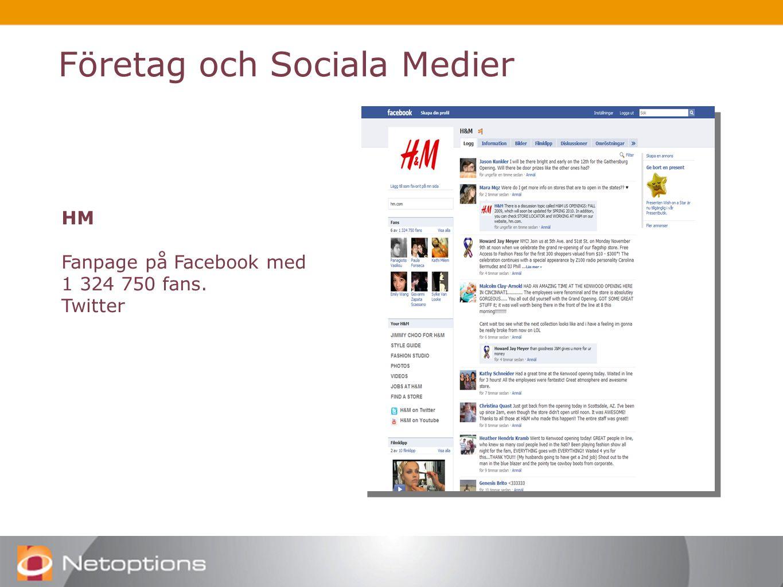 Företag och Sociala Medier HM Fanpage på Facebook med 1 324 750 fans. Twitter