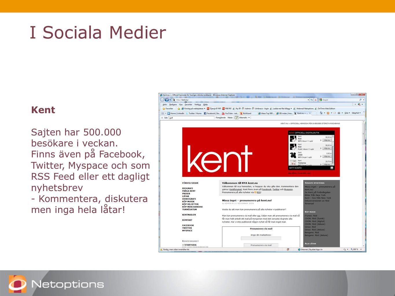 I Sociala Medier Kent Sajten har 500.000 besökare i veckan.