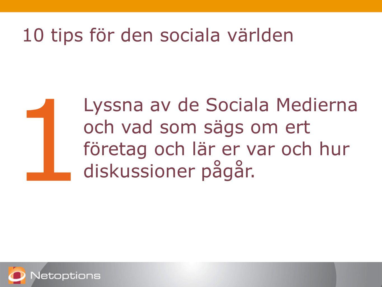 1 Lyssna av de Sociala Medierna och vad som sägs om ert företag och lär er var och hur diskussioner pågår.