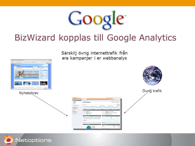 BizWizard kopplas till Google Analytics Särskilj övrig internettrafik från era kampanjer i er webbanalys Nyhetsbrev Övrig trafik