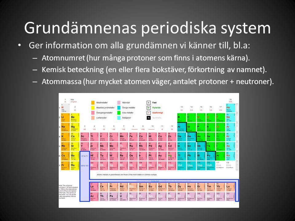 Grundämnenas periodiska system • Ger information om alla grundämnen vi känner till, bl.a: – Atomnumret (hur många protoner som finns i atomens kärna).