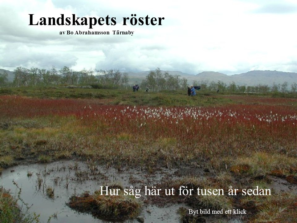 Landskapets röster av Bo Abrahamsson Tärnaby Hur såg här ut för tusen år sedan Byt bild med ett klick