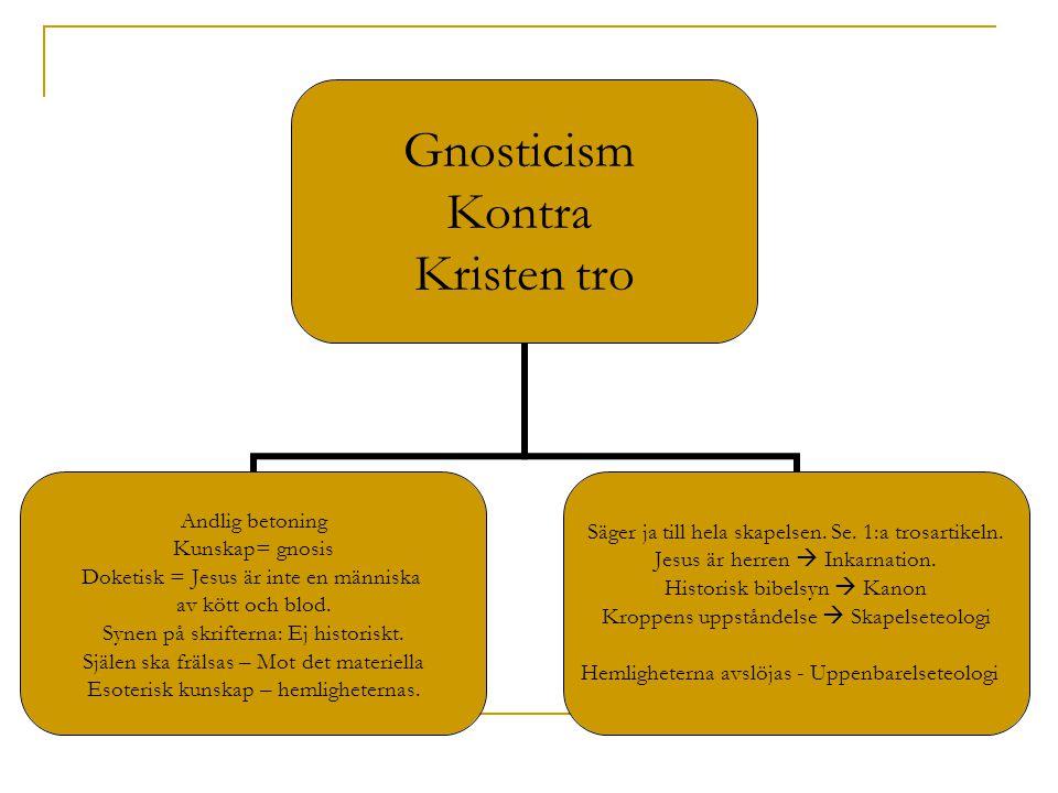 Gnosticism Kontra Kristen tro Andlig betoning Kunskap= gnosis Doketisk = Jesus är inte en människa av kött och blod. Synen på skrifterna: Ej historisk