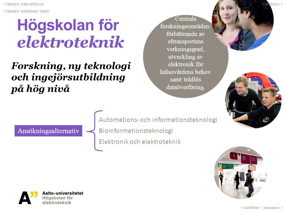 Högskolan för elektroteknik Automations- och informationsteknologi Bioinformationsteknologi Elektronik och elektroteknik Ansökningsalternativ Forsknin