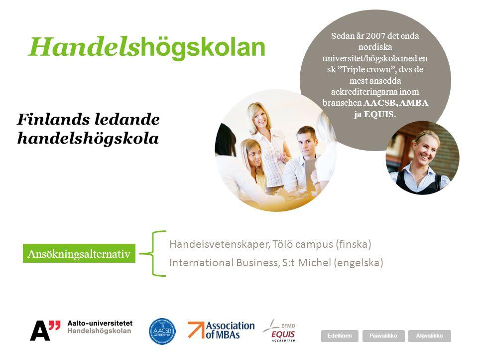 Handels högskolan Finlands ledande handelshögskola Handelsvetenskaper, Tölö campus (finska) International Business, S:t Michel (engelska) Ansökningsal