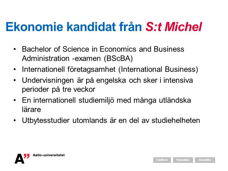Ekonomie kandidat från S:t Michel •Bachelor of Science in Economics and Business Administration -examen (BScBA) •Internationell företagsamhet (International Business) •Undervisningen är på engelska och sker i intensiva perioder på tre veckor •En internationell studiemiljö med många utländska lärare •Utbytesstudier utomlands är en del av studiehelheten AlavalikkoPäävalikkoEdellinen