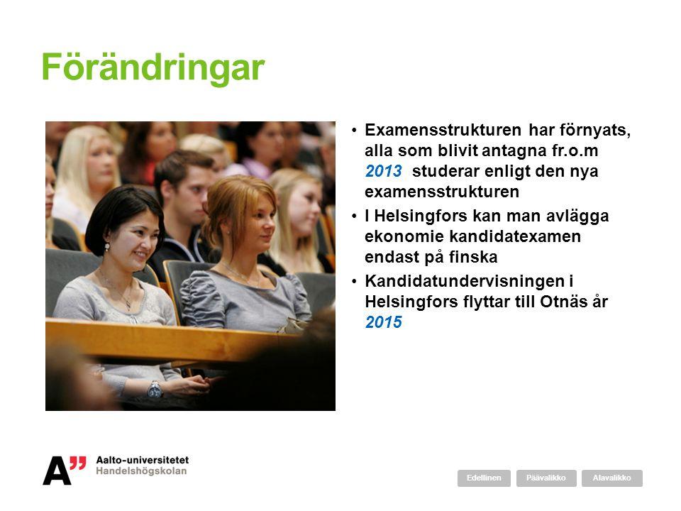 Förändringar •Examensstrukturen har förnyats, alla som blivit antagna fr.o.m 2013 studerar enligt den nya examensstrukturen •I Helsingfors kan man avl