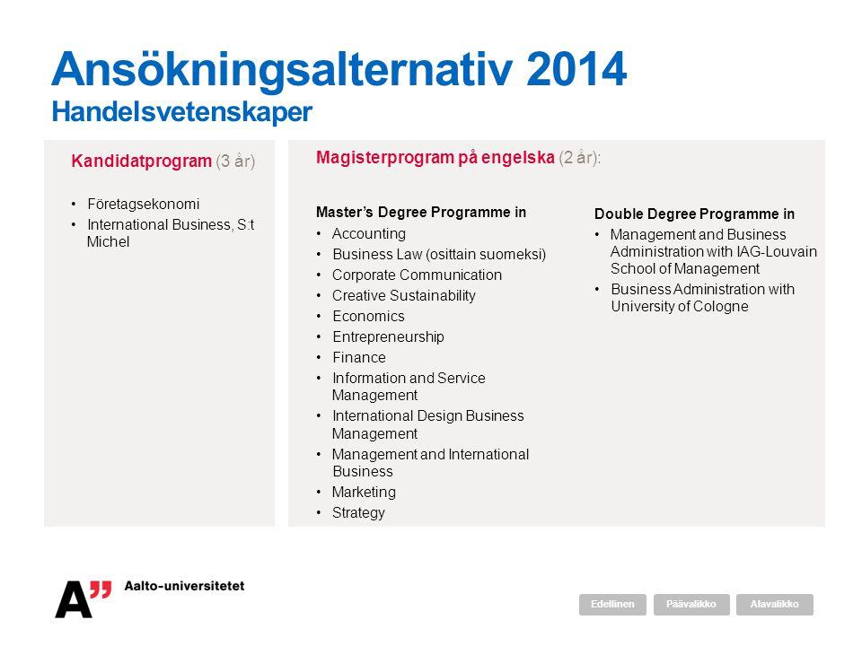 Ansökningsalternativ 2014 Handelsvetenskaper Master's Degree Programme in •Accounting •Business Law (osittain suomeksi) •Corporate Communication •Crea