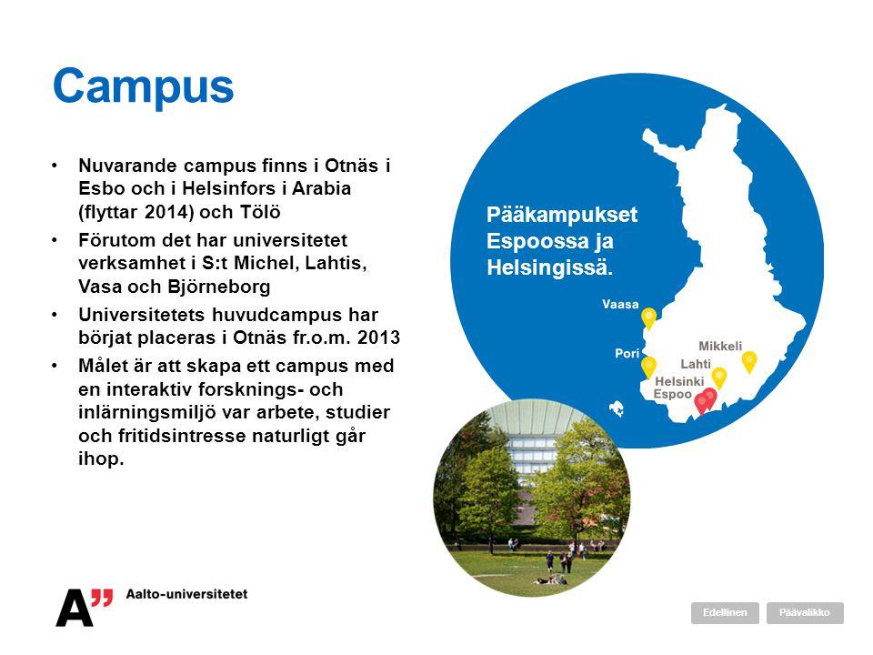 Campus •Nuvarande campus finns i Otnäs i Esbo och i Helsinfors i Arabia (flyttar 2014) och Tölö •Förutom det har universitetet verksamhet i S:t Michel, Lahtis, Vasa och Björneborg •Universitetets huvudcampus har börjat placeras i Otnäs fr.o.m.