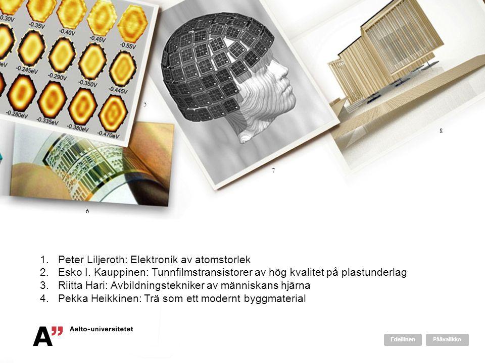 1.Peter Liljeroth: Elektronik av atomstorlek 2.Esko I. Kauppinen: Tunnfilmstransistorer av hög kvalitet på plastunderlag 3.Riitta Hari: Avbildningstek
