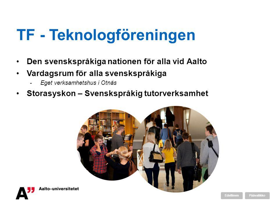 TF - Teknologföreningen •Den svenskspråkiga nationen för alla vid Aalto •Vardagsrum för alla svenskspråkiga -Eget verksamhetshus i Otnäs •Storasyskon