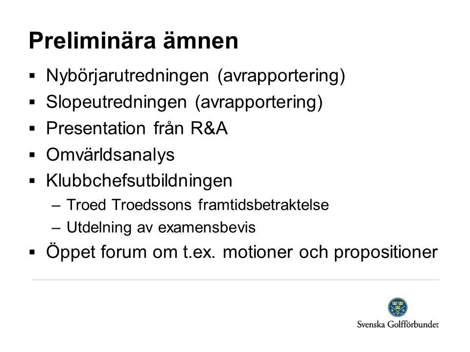Preliminära ämnen  Nybörjarutredningen (avrapportering)  Slopeutredningen (avrapportering)  Presentation från R&A  Omvärldsanalys  Klubbchefsutbi