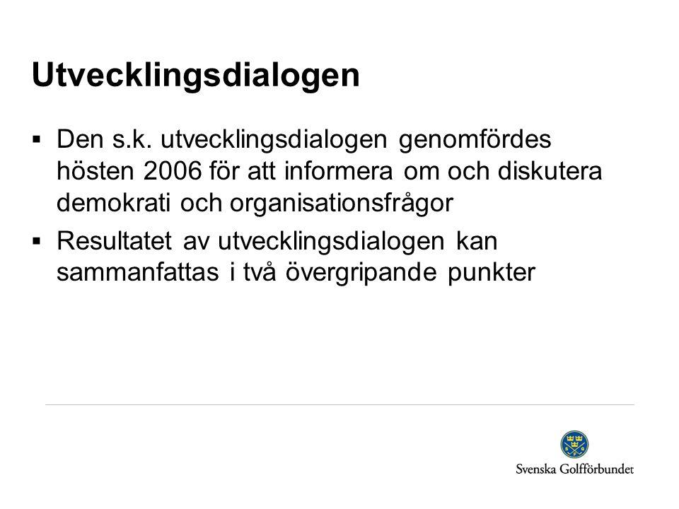 Utvecklingsdialogen  Den s.k. utvecklingsdialogen genomfördes hösten 2006 för att informera om och diskutera demokrati och organisationsfrågor  Resu