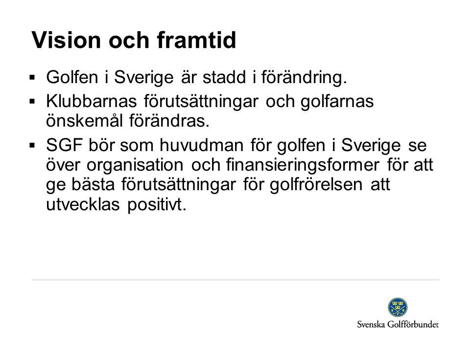 Vision och framtid  Golfen i Sverige är stadd i förändring.  Klubbarnas förutsättningar och golfarnas önskemål förändras.  SGF bör som huvudman för