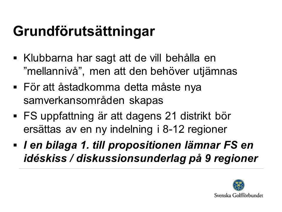 Grundförutsättningar  Klubbarna har sagt att de vill behålla en mellannivå , men att den behöver utjämnas  För att åstadkomma detta måste nya samverkansområden skapas  FS uppfattning är att dagens 21 distrikt bör ersättas av en ny indelning i 8-12 regioner  I en bilaga 1.