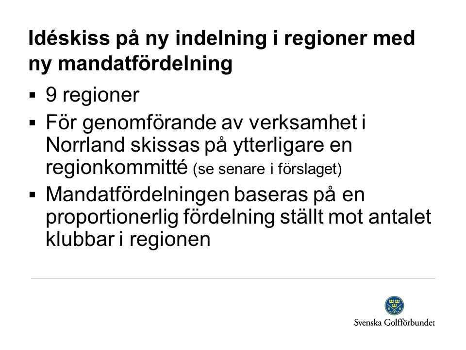 Idéskiss på ny indelning i regioner med ny mandatfördelning  9 regioner  För genomförande av verksamhet i Norrland skissas på ytterligare en regionkommitté (se senare i förslaget)  Mandatfördelningen baseras på en proportionerlig fördelning ställt mot antalet klubbar i regionen