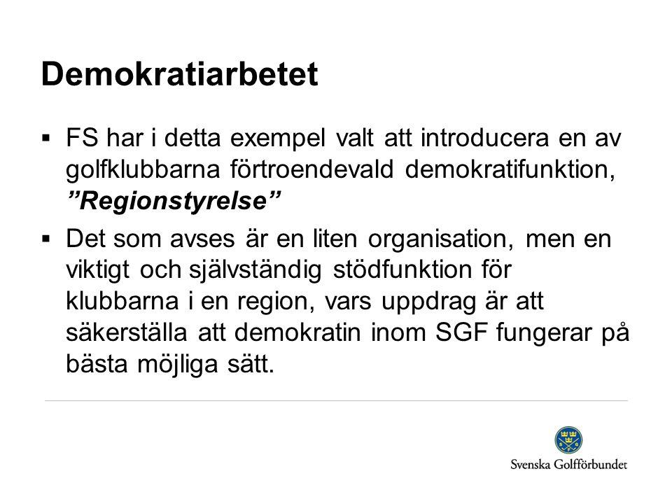 """Demokratiarbetet  FS har i detta exempel valt att introducera en av golfklubbarna förtroendevald demokratifunktion, """"Regionstyrelse""""  Det som avses"""