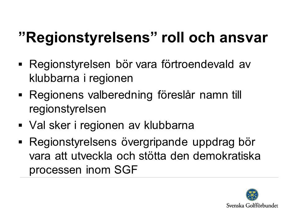 Regionstyrelsens roll och ansvar  Regionstyrelsen bör vara förtroendevald av klubbarna i regionen  Regionens valberedning föreslår namn till regionstyrelsen  Val sker i regionen av klubbarna  Regionstyrelsens övergripande uppdrag bör vara att utveckla och stötta den demokratiska processen inom SGF