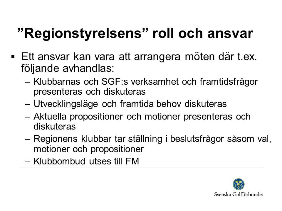 """""""Regionstyrelsens"""" roll och ansvar  Ett ansvar kan vara att arrangera möten där t.ex. följande avhandlas: –Klubbarnas och SGF:s verksamhet och framti"""