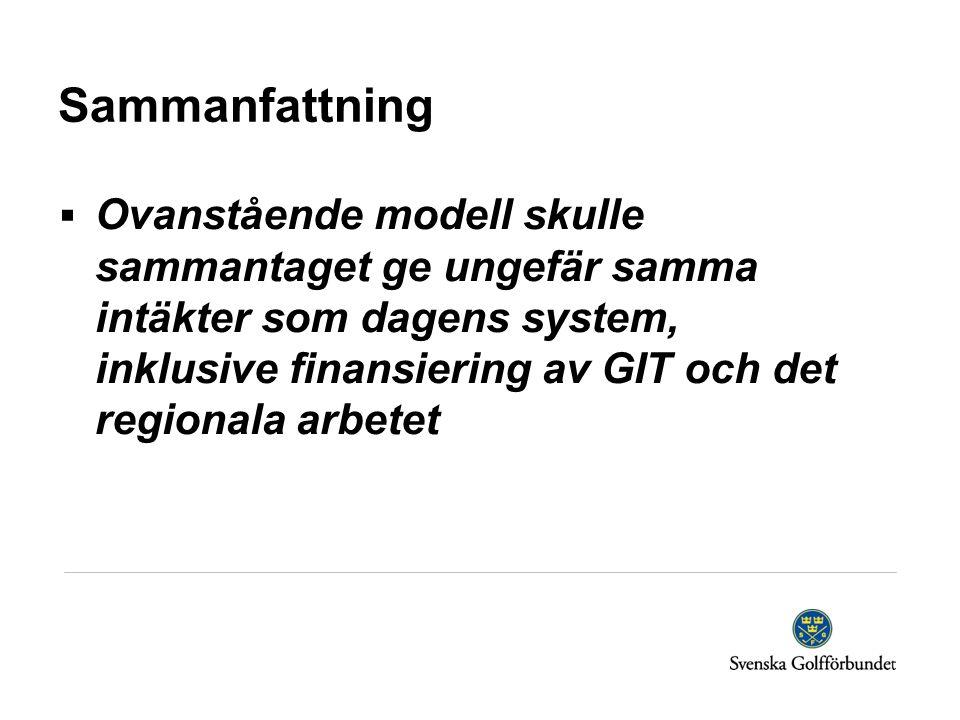 Sammanfattning  Ovanstående modell skulle sammantaget ge ungefär samma intäkter som dagens system, inklusive finansiering av GIT och det regionala ar