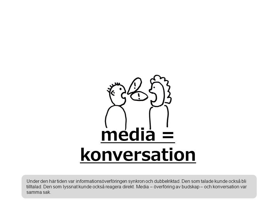 media = konversation Under den här tiden var informationsöverföringen synkron och dubbelriktad.