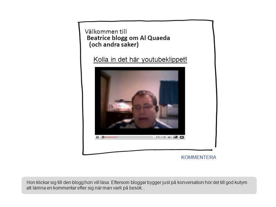 Bengts blogg om fåglar och natur Berits blogg om Al Quaeda Benny-Lottas blasfemiska blogg N Beatrice blogg om Al Quaeda Välkommen till (och andra saker) Kolla in det här youtubeklippet.