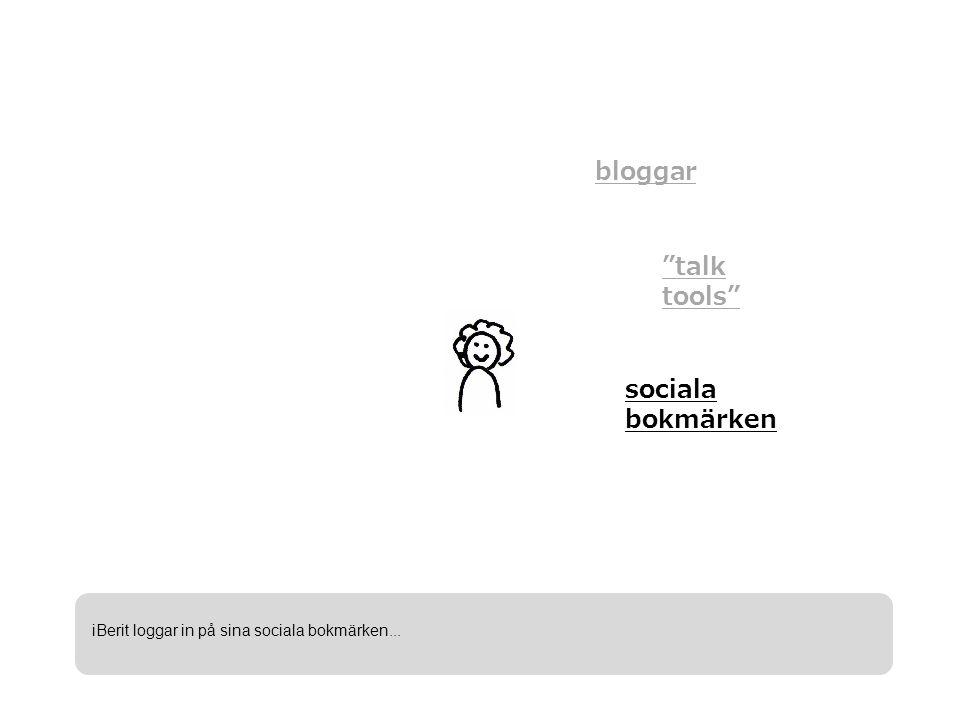 bloggar talk tools sociala bokmärken iBerit loggar in på sina sociala bokmärken...