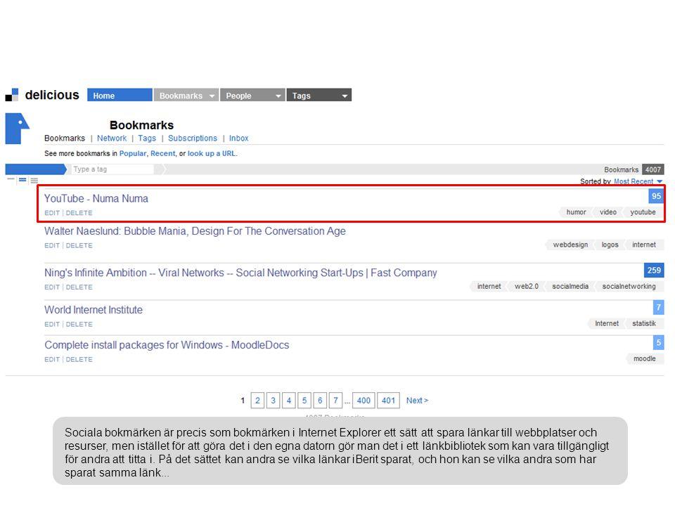 Sociala bokmärken är precis som bokmärken i Internet Explorer ett sätt att spara länkar till webbplatser och resurser, men istället för att göra det i den egna datorn gör man det i ett länkbibliotek som kan vara tillgängligt för andra att titta i.