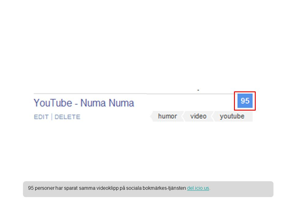 95 personer har sparat samma videoklipp på sociala bokmärkes-tjänsten del.icio.us.del.icio.us