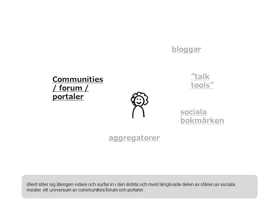 bloggar talk tools sociala bokmärken aggregatorer Communities / forum / portaler iBerit sliter sig återigen vidare och surfar in i den äldsta och mest långlivade delen av sfären av sociala medier, ett universum av communities/forum och portaler...