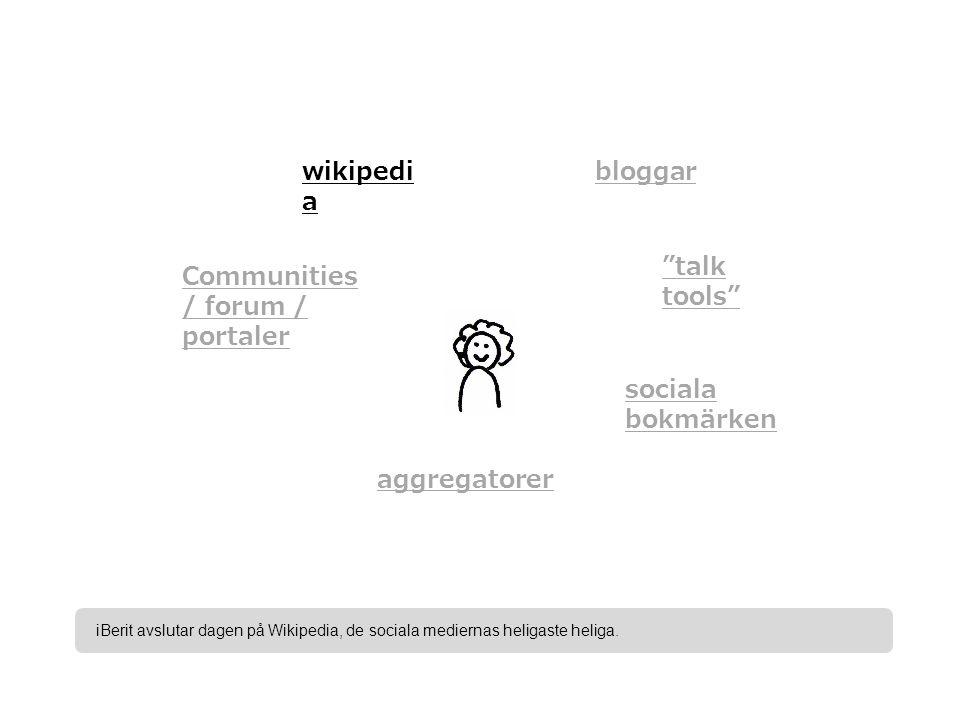bloggar talk tools sociala bokmärken aggregatorer Communities / forum / portaler wikipedi a iBerit avslutar dagen på Wikipedia, de sociala mediernas heligaste heliga.