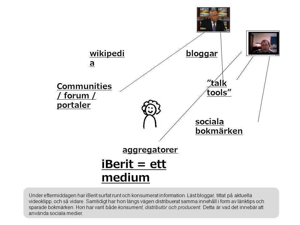 bloggar talk tools sociala bokmärken aggregatorer Communities / forum / portaler wikipedi a iBerit = ett medium Under eftermiddagen har iBerit surfat runt och konsumerat information.