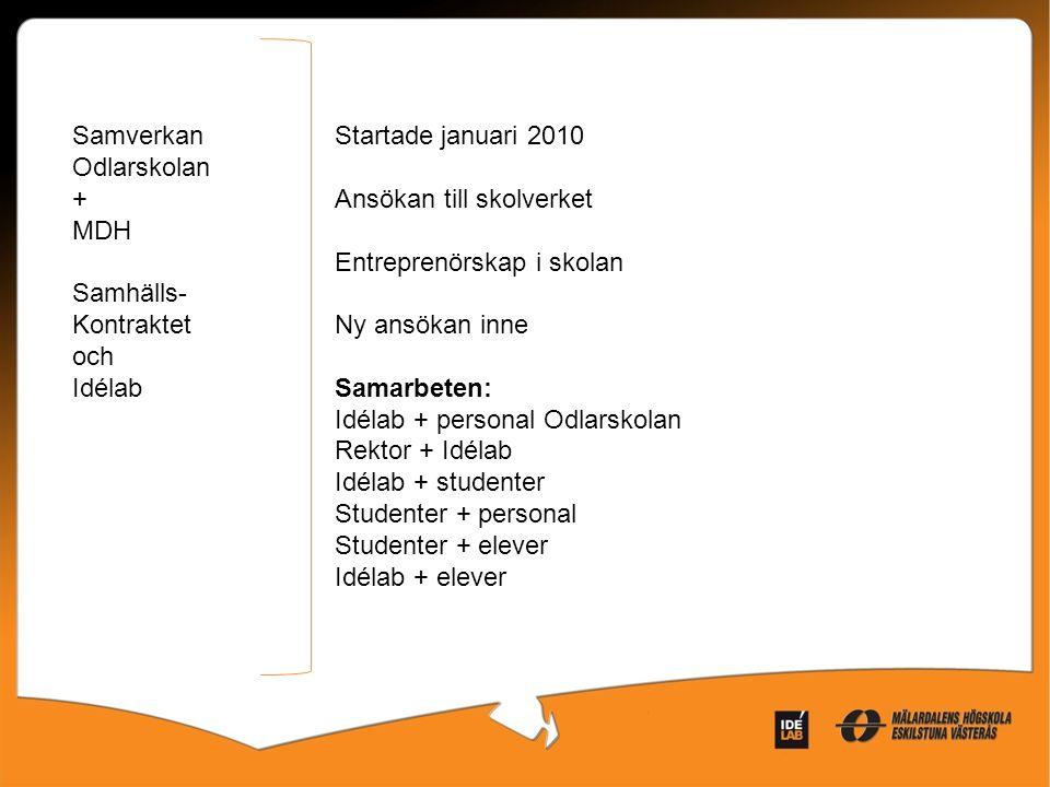 Samverkan Odlarskolan + MDH Samhälls- Kontraktet och Idélab Startade januari 2010 Ansökan till skolverket Entreprenörskap i skolan Ny ansökan inne Sam